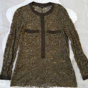 Nanette Lepore Moss Green Lace Knit Blouse Size 10